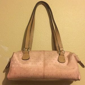Pink and Tan Leather Purse